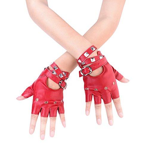 JISEN Women Punk rivets Belt Up Half Finger PU Leather Performance Gloves Red