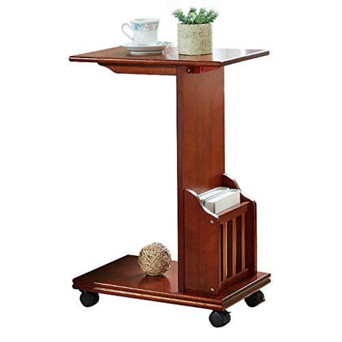 Patio Coffee Side End Tables Narrow Chair Shelf C Type Table with Storage Basket with Metal Frame with Rolling Casters Espresso for Parlor Nesting Tables