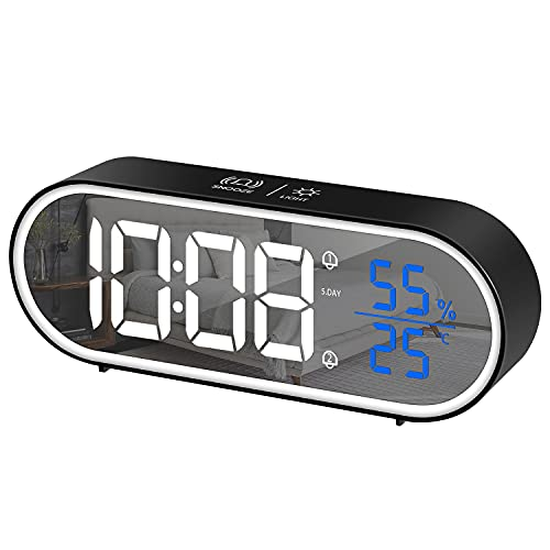 HOMVILLA Reloj Despertador Digital, LED Pantalla Reloj Alarma Inteligente Electrónicos con Temperatura/Humedad, 2 Alarma, Snooze, Modo Fin de Semana, Despertado, Sonido y Brillos Regulable, Negro