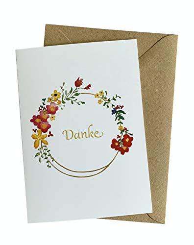 Herzfunkeln® Dankeskarte mit Blumenkranz in DIN A6 - Danke sagen mit Dankeschön Karte - Mit Umschlag aus Recyclingpapier - Grußkarte & Danksagungskarte - Made in Germany