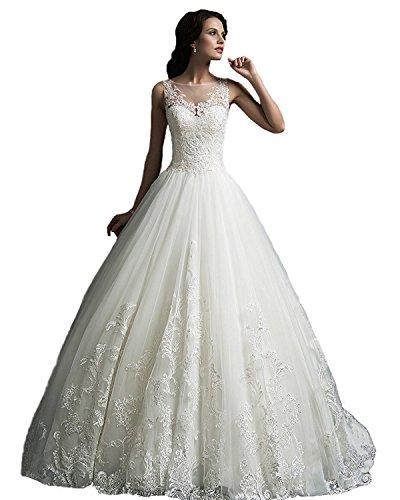 YASIOU Hochzeitskleid Standesamt Damen Lang Tüll Spitze Weiß Vintage Durchsichtig Hochgeschlossen mit Schleppe Brautkleid