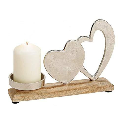 G. Wurm Kerzenhalter Ständer Leuchter Dekoration aus Metall Mangoholz Platte Herz Dekor Silber 23x16x5cm