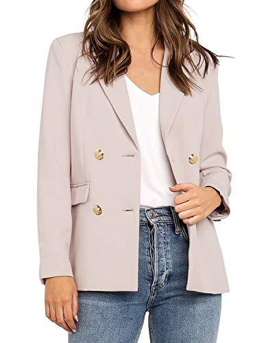 Vetinee Women's Apricot Casual Lapel Pocket Blazer Suit Long Sleeve Buttons Double Breasted Work Office Jacket Size XX-Large