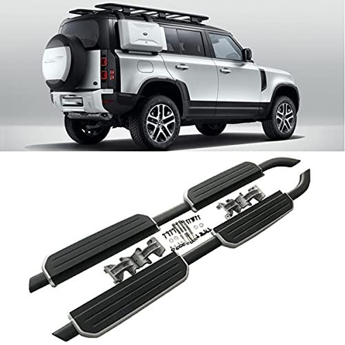 BrightFootBook Trittbrett Für Seitliche Stufenstange Für Land Rover Defender 2020 2021, Originalmodell, Kann 300 Kg Laden,Black+Silver