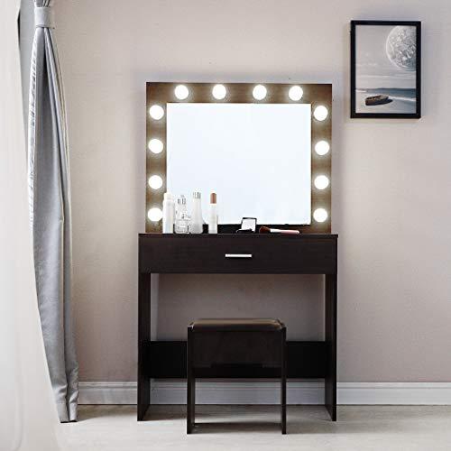 Vanity Set with Lighted Mirror, Makeup Vanity Dressing Table Dresser Desk with Large Drawer, Walnut/White Bedroom Furniture(12 LED Bulbs) (Black)