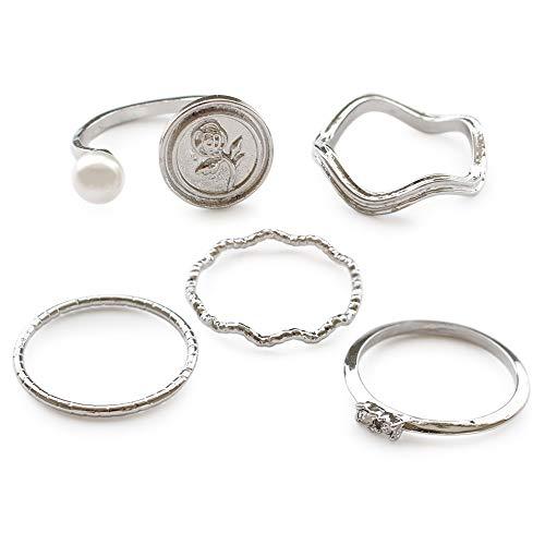 [ジュエルボックス] JewelVOX リング 指輪 パール ローズ 薔薇 バラ コイン 華奢 5点 セット マルチデザイン シルバー