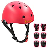 Lanova Toddler Helmet Kids Knee Pads for 3-8 Years Toddler Youth Bike Skateboard Helmet Knee Elbow Wrist Pads for Roller Bicycle Bike Skateboard and Other Extreme Sports Activities (RED)