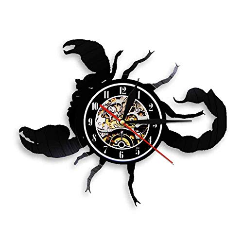 WWZY Reloj De Vinilo Vintage Creativo con Diseño Escorpión Hecho A Mano Artesaní Movimiento Cuarzo Retro Silencioso Decorativo para El Hogar No LED