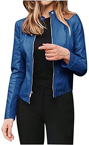 Chaquetas para Mujer Chaquetas Cortas de Cuero PU Zip Up Cardigan Manga Larga Moto Biker Coat (Blue,XL)