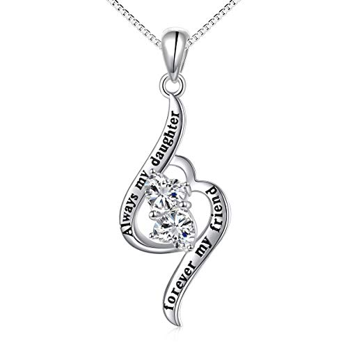 Sterling Silver Always My Daughter Forever My Friend Double Love Heart Necklace, Box Chain 18'