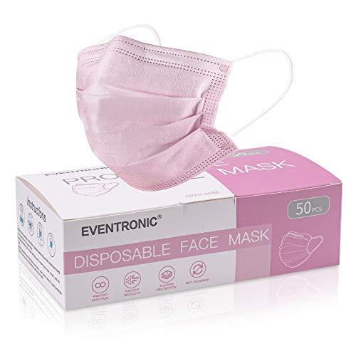 Eventronic Einwegmaske, 50 Stück super bequeme dreischichtige atmungsaktive Maske mit Nasenstreifen, pink