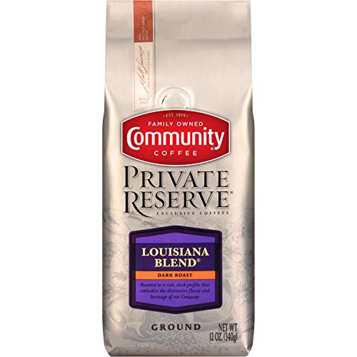 Community Coffee Louisiana Blend Dark Roast Private Reserve Ground Coffee, 12 Once Bag (3 Pack)