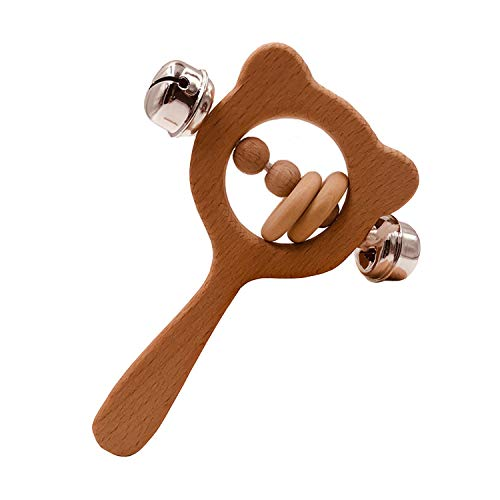 Teether Rattle by GNAWRISHING, Wooden Teether Rattle & Sensory Teether, Wooden Baby Teething Rattle, Wood Baby Rattle & Teether, Infant Wooden Rattle,Montessori Rattle for Babies 3 Months +