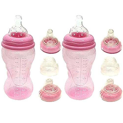 2 x Nuby Baby 3 Stage 0m+ 260ml Feeding Bottle, with Easy Grip & Non...