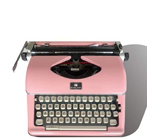 Vintage Schreibmaschine, Retro Mechanische Schreibmaschine mit 2 zusätzlichen Ersatzbandsets (Pink)