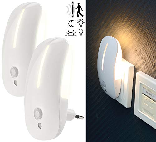 Lunartec Bewegungslicht: 2 LED-Steckdosen-Nachtlichter mit Bewegungsmelder & Dämmerungs-Sensor (Nachtlicht Bewegungssensor)