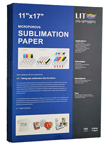 LIT Sublimation Paper 11 x 17 Inch, 100 Sheets,110gsm - Heat Transfer Paper For Any Epson Sawgrass HP Inkjet Printer With Sublimation Ink