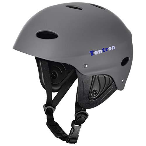 Tontron Adult Whitewater Kayaking Canoeing Watersports Helmet (Matte Grey, Medium)