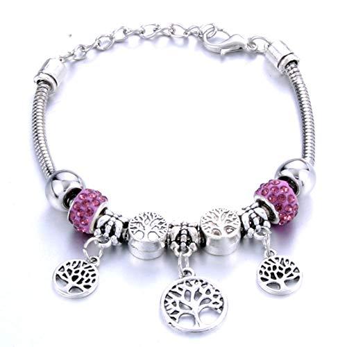 Pulseras Brazalete Joyería Mujer Pulsera De Cuentas De Metal Elástico De Moda Brazaletes De Cadena De Joyería Pulsera De Cuentas Jewelry-Pink