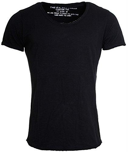 KEY LARGO Herren Vintage Used Destroyed Look Uni Basic T-Shirt Bread New Round Neck tiefer Rundhals Ausschnitt einfarbig T00621, Grösse:L, Farbe:Schwarz