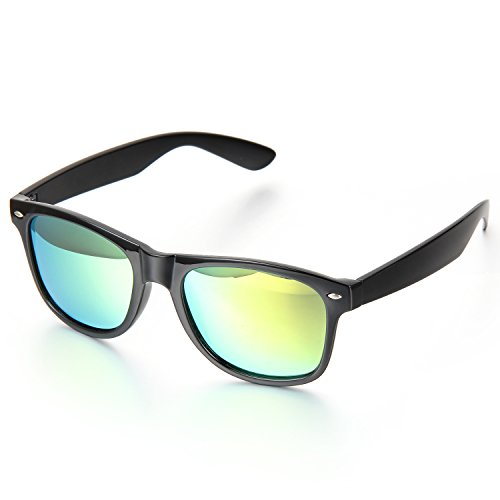 Aroncent Sport zonnebril voor dames en heren, vintage stijl UV400-bescherming, volledige rand, goudkleurig