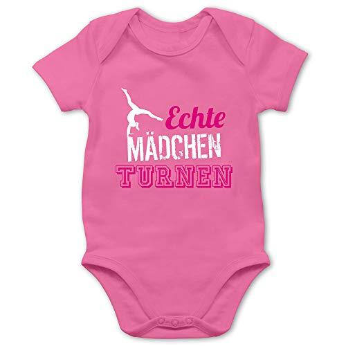 Sport Baby - Echte Mädchen Turnen - 3/6 Monate - Pink - Turnen mädchen - BZ10 - Baby Body Kurzarm für Jungen und Mädchen