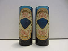 Corralejo Tequila Reposado Guanajuato Mexico Set of 2 Blue Glass Shooter Double Shot Glasses approx. 4 1/2 inches tall Collectible NOT FOUND IN STORES
