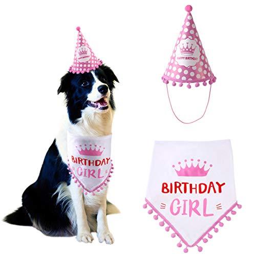 DaMohony - Cumpleaños Bandana para Perro + Sombrero de Fiesta de Cumpleaños para Perrito Babero Triángulo para Mascota Cosplay Disfraz Rosado