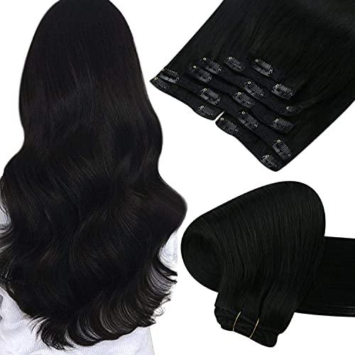 [Nueva Llegada]Sunny 20 pulgadas Recto Negro Jack Clip Extensiones de Cabello Natural Negro Clip 7 piezas Full Head #1B Clip Extension de Cabello Natural Brazilian para Mujeres 120g
