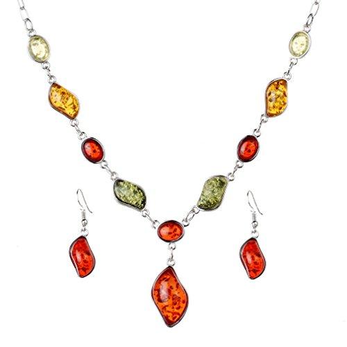 Yazilind Frauen Weinlese-Silber überzogene rote Bernstein Hochzeit Schmuck-Sets Kettenhalsketten-Ohrring-Sätze