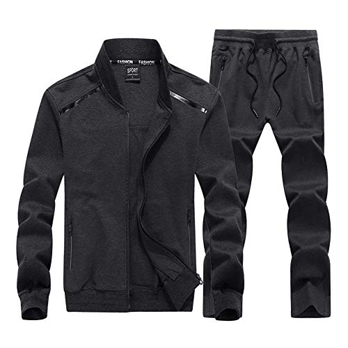 INVACHI Mens 2 Pieces Athletic Full Zip Sports Sets Jacket & Pants Active Fitness Jogging Sweat Tracksuit Set