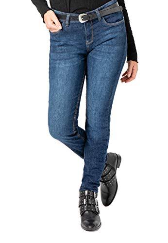 Sublevel Damen Skinny Jeans Hose mit Western-Gürtel Dark-Blue M