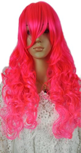 Qiyun Hot Pink Longue Ondule Boucle Cosplay F¨ºte Costumee Anime Complete Cheveux Perruque