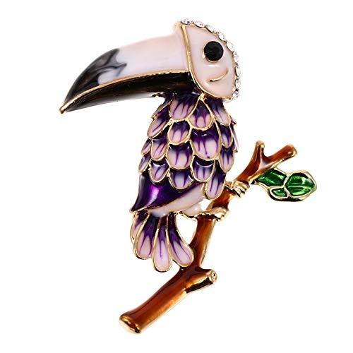 NUOBESTY Loro Esmalte Broche Pin Vintage Loro Pecho Novedad Pin Solapa Púrpura Metal Insignia Ramillete Ropa Accesorios para DIY Bolsos Mochilas Decoración