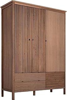 Meubletmoi Armoire en Bois strié Marron avec 3 Portes 4 tiroirs et 1 penderie - Braga 4325