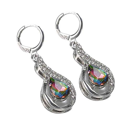 AchidistviQ Women's Creative Hollow Clip Drop Earrings,Charm Teardrop Shape Hook Earrings Clip on Earrings for Women Girls Multicolor