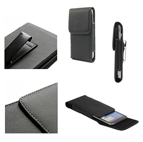 DFV mobile - Leather Flip Belt Clip Metal Case Holster Vertical for ALCATEL ONETOUCH 2004C / 20.04C - Black
