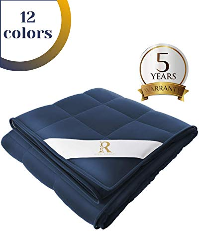 Royal Therapy Weighted Blanket (5lb, 36x48') 100% Calming Cotton Blanket with Glass Beads