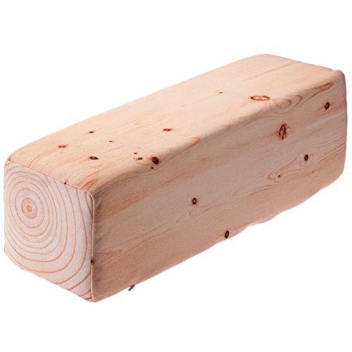 KADAX Kopfkissen - Holzbalken, Dekokissen aus Schaumstoff, Zierkissen, Nackenkissen mit waschbarem Bezug, Nackenrolle, Kissen für Bett, Nacken, Schlaf, geeignet für Allergiker (60 x 17 x 17 cm, beige)