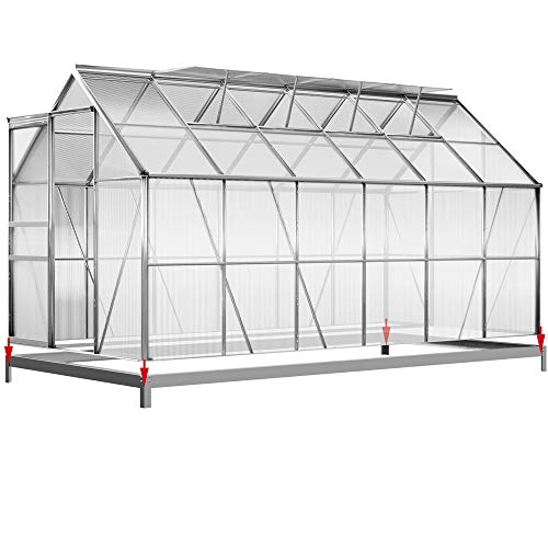 Deuba Aluminium Gewächshaus 7,2m² mit Fundament 380x190cm inkl 4 Dachfenster Treibhaus Garten Frühbeet Aufzucht 11,73m³