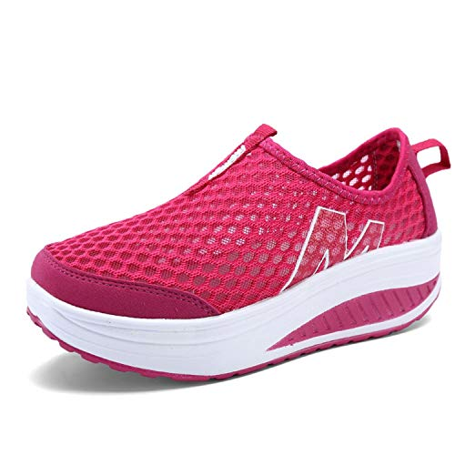 experiment Women's Shoes Casual Sport Shoes Walking Flats Height Increasing Women Loafers Air Mesh Swing Wedges Shoe Red