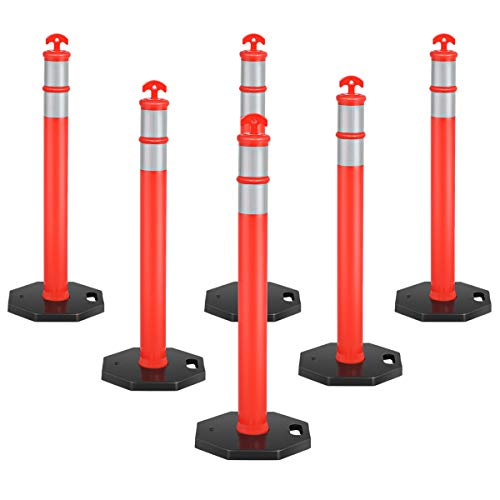 "Goplus 45"" Delineator Post Cone, 6 Pack Traffic Cone Safety Barrier with Reflective Collars & Rubber Base, Perfect as Parking Posts, Street Stanchions"