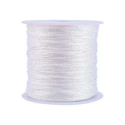 Haofy Nylonschnur, 100 m x 0.8mm Nylon Beading Thread String, Nylon Makramee Schnur für DIY Handwerk Machen Armbänder, Halskette, Schmuck Einfädeln, Schmuckherstellung, Weiß