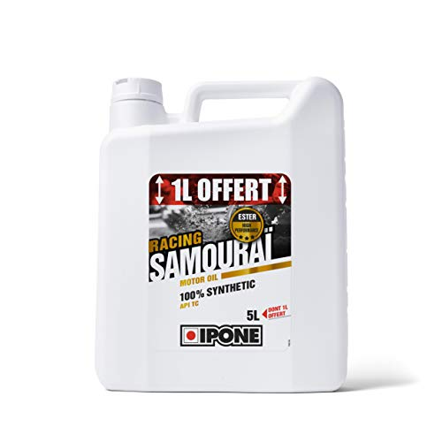 Ipone 800092 Huile Moteur Moto 2 Temps Samouraï Racing-100% Synthétique avec Esters-Lubrifiant Haute Performance-Bidon 4 1 Litre Offert