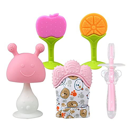 Baby Teething Toys w/ Teething Mitten, Baby Toothbrush Fruit Teethers for Babies 0-6 6-12 Months, Mushroom Teether, BPA-Free, Freezer Safe Silicone Baby Teethers for Infants (Pink)