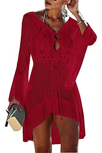 Jinsha Abito da Spiaggia Allentato da Donna Bikini Allentato a Manica Lunga con Scollo a V Coprire Costumi da Bagno Coprire Tunica fluida Camicetta per Le Vacanze(Red)