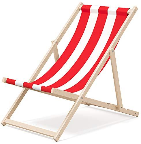 Sedia a sdraio Novamat da giardino, in legno, pieghevole, da spiaggia, per relax, motivo: strisce, colore: rosso e bianco