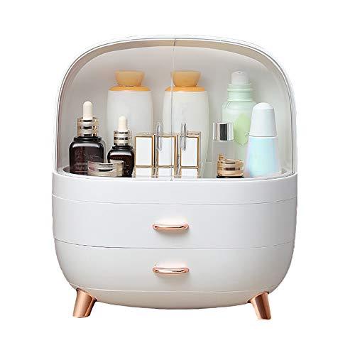 HWLL Estuches de Maquillaje Caja de Maquillaje Blanca de Alta Capacidad con Puerta Giratoria y Cajón, Caja de Cosméticos de Belleza con Cajón en Capas, Impermeable (Size : 29.5×18.5×32cm)