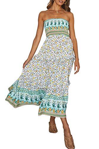 ZESICA Women's Summer Bohemian Floral Printed Strapless Beach Party Long Maxi Dress Light Green