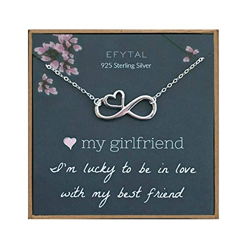 EFYTAL Girlfriend Gifts, Girlfriend Birthday Gift Ideas For Her, Romantic Sterling Silver Infinity with Heart Necklace Jewelry for Women, Cute Anniversary / Valentines Day Present